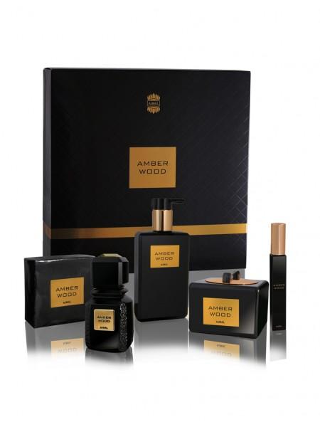Ajmal Amber Wood Подарочный набор (парфюмированная вода 50 мл + гель для душа 200 мл + масло для тела 50 мл + мыло 200г + спрей для волос 8 мл)