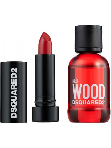 Dsquared2 Red Wood Подарочный набор (миниатюра 5 мл + помада для губ 1.2г)