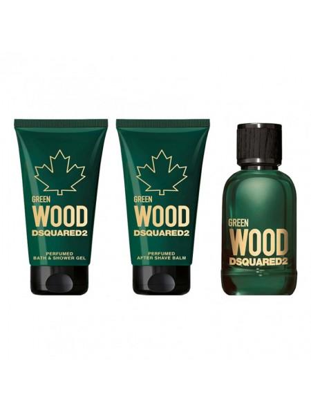 Dsquared2 Green Wood Pour Homme Подарочный набор (миниатюра 5 мл + гель для душа 25 мл + бальзам после бритья 25 мл)
