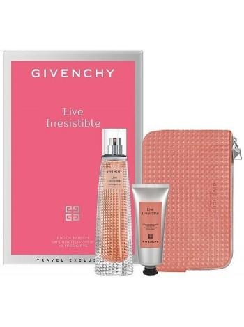 Givenchy Live Irresistible Eau de Parfum Подарочный набор (парфюмированная вода 75 мл + крем для тела 75 мл + клатч)
