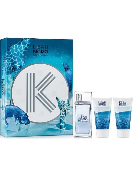 Kenzo L'eau par Pour Homme Подарочный набор (туалетная вода 50 мл + гель для душа 50 мл + лосьон после бритья 50 мл)