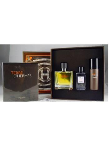 Terre d'Hermes Parfum Подарочный набор (парфюмированная вода 75 мл + пена для бритья 50 мл + лосьон после бритья 40 мл)
