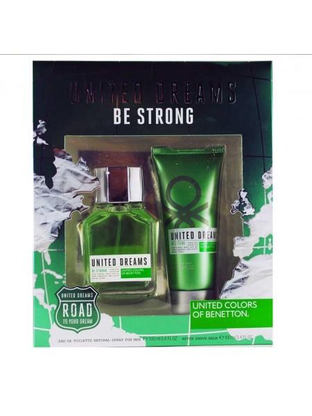 Benetton United Dreams Men Be Strong Подарочный набор (туалетная вода 100 мл + бальзам после бритья 100 мл)