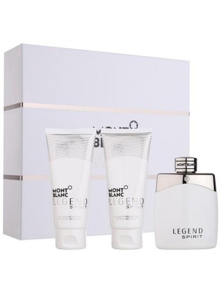 Montblanc Legend Spirit Подарочный набор (туалетная вода 100 мл + гель для душа 100 мл + бальзам после бритья 100 мл)