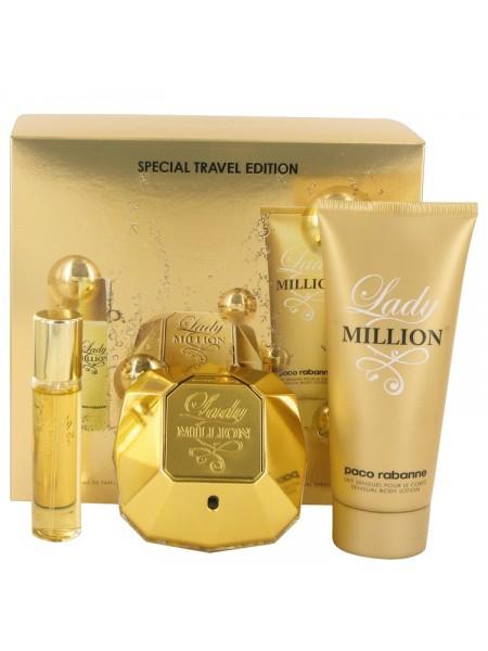 Paco Rabanne Lady Million подарочный набор (парфюмированная вода 80 мл + лосьон для тела 75 мл + миниатюра 10 мл)