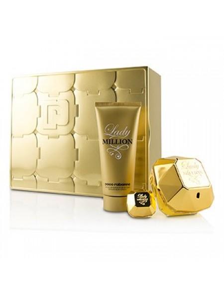Paco Rabanne Lady Million подарочный набор (парфюмированная вода 80 мл + лосьон для тела 100 мл + миниатюра 5 мл)