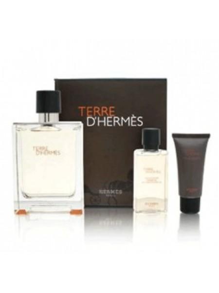 Terre d'Hermes Eau De Toilette Подарочный набор (туалетная вода 100 мл + гель для душа 40 мл + бальзам после бритья 15 мл)