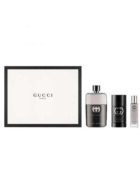 Gucci Guilty Pour Homme Подарочный набор (туалетная вода 90 мл + стиковый дезодорант 75 мл + миниатюра 15 мл)