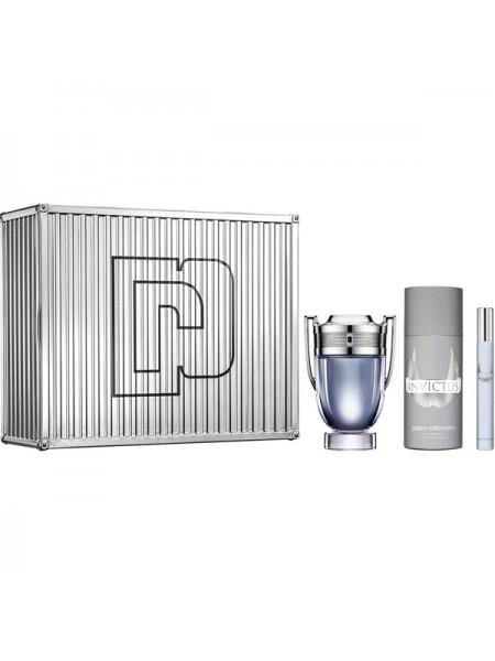 Paco Rabanne Invictus Подарочный набор (туалетная вода 100 мл + дезодорант-спрей 150 мл + миниатюра 10 мл)